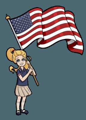 Leah holding the U.S. flag