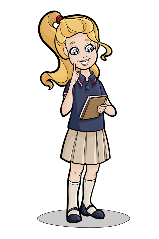 Leah in school uniform taking notes