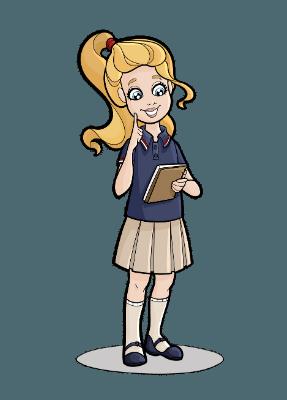 Leah taking notes in school uniform